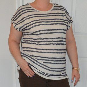 Vince Camuto Crew Neck Sweater Tee Navy Stripes